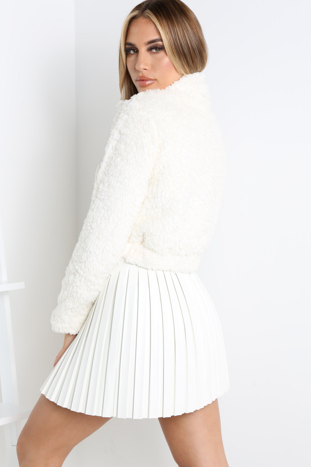 Cream Teddy Faux Fur Zip Front Sweater