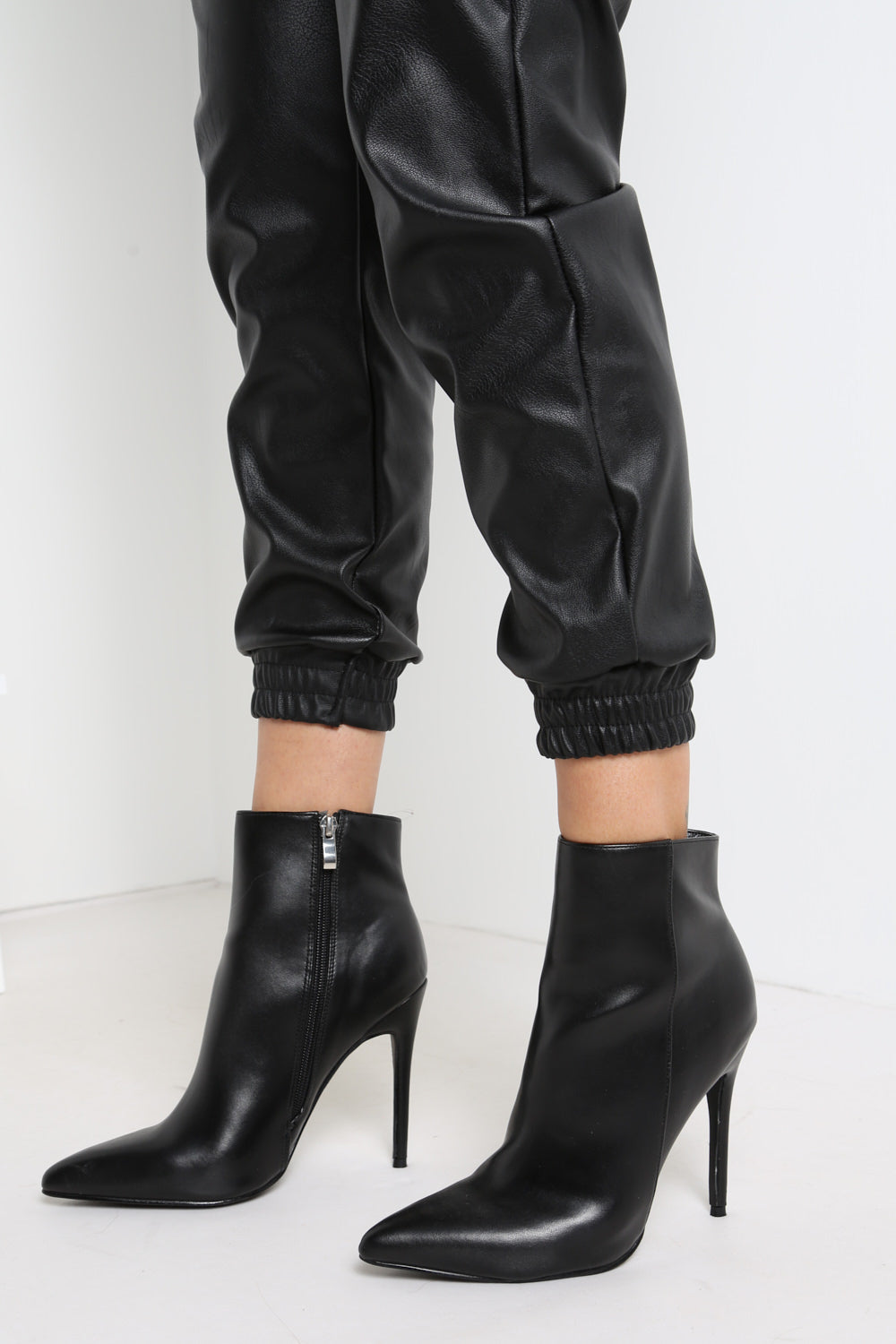 Black PU Pointed Boots