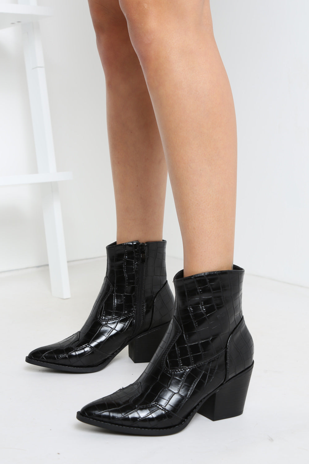 Black Faux Crocodile Ankle Boot