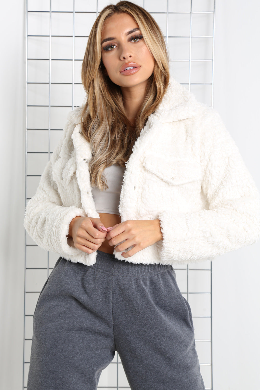 Cream Teddy Faux Fur Trucker Jacket