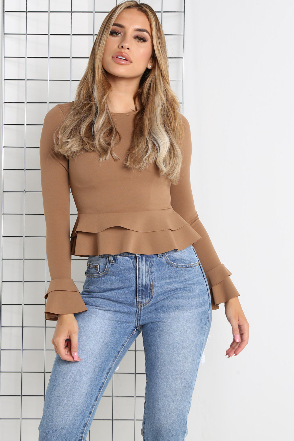 Camel Frill Long Sleeve Crop Top