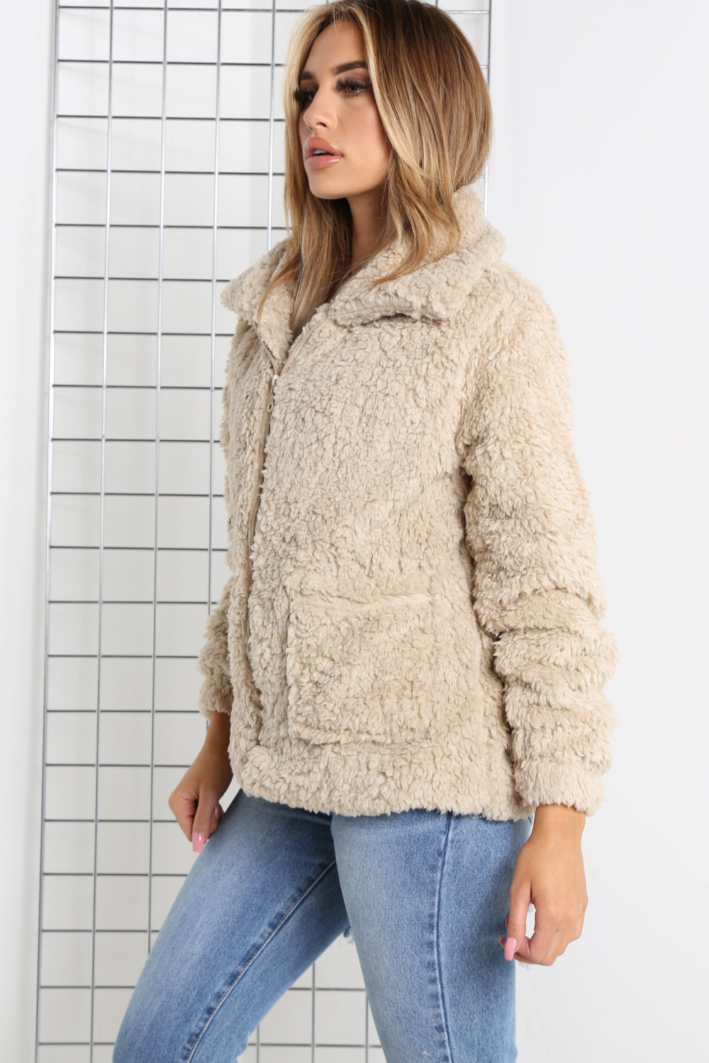 Beige Teddy Faux Fur Jacket