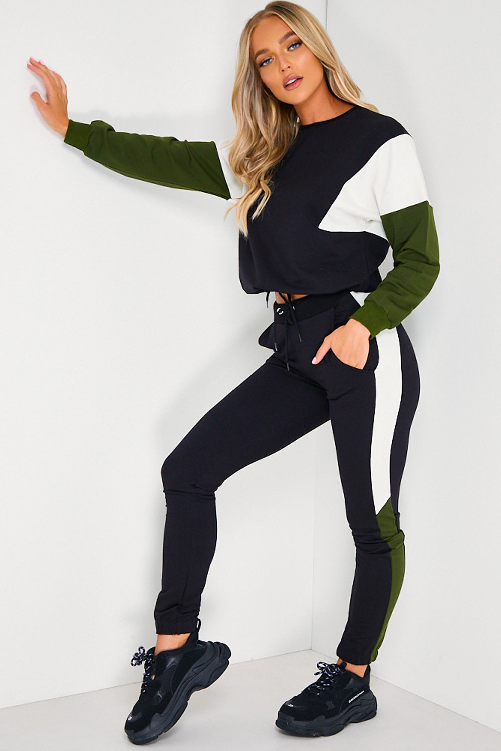 Black, Cream & Khaki Colour Block Tracksuit Set