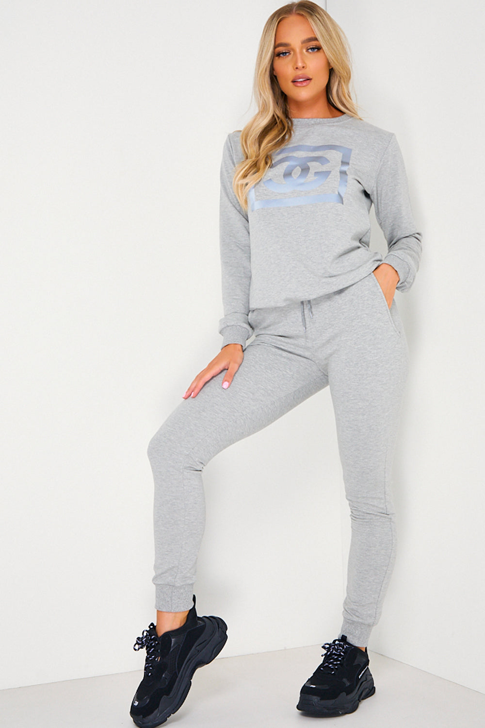 Grey CG Printed Jumper and Joggers Tracksuit Set