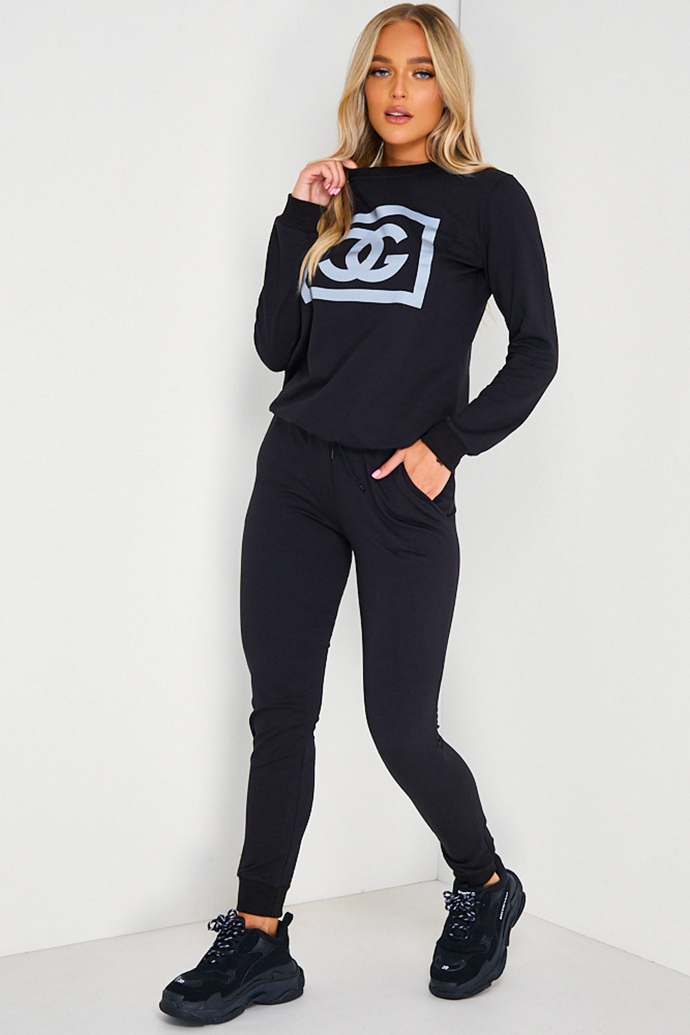 Black CG Printed Jumper and Joggers Tracksuit Set