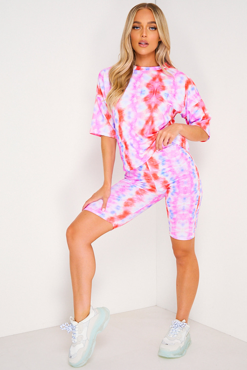 Pink & White Abstract Print T-shirt and Shorts Co-Ord Set