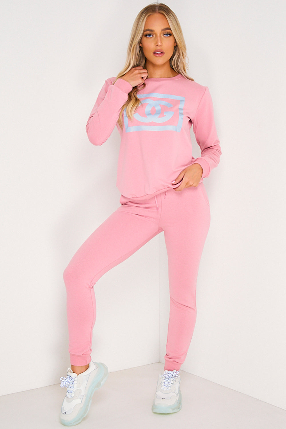 Pink CG Printed Jumper and Joggers Tracksuit Set