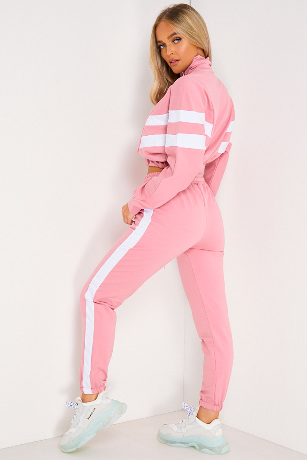 Pink & White Stripe Cropped Top and Joggers Tracksuit Set
