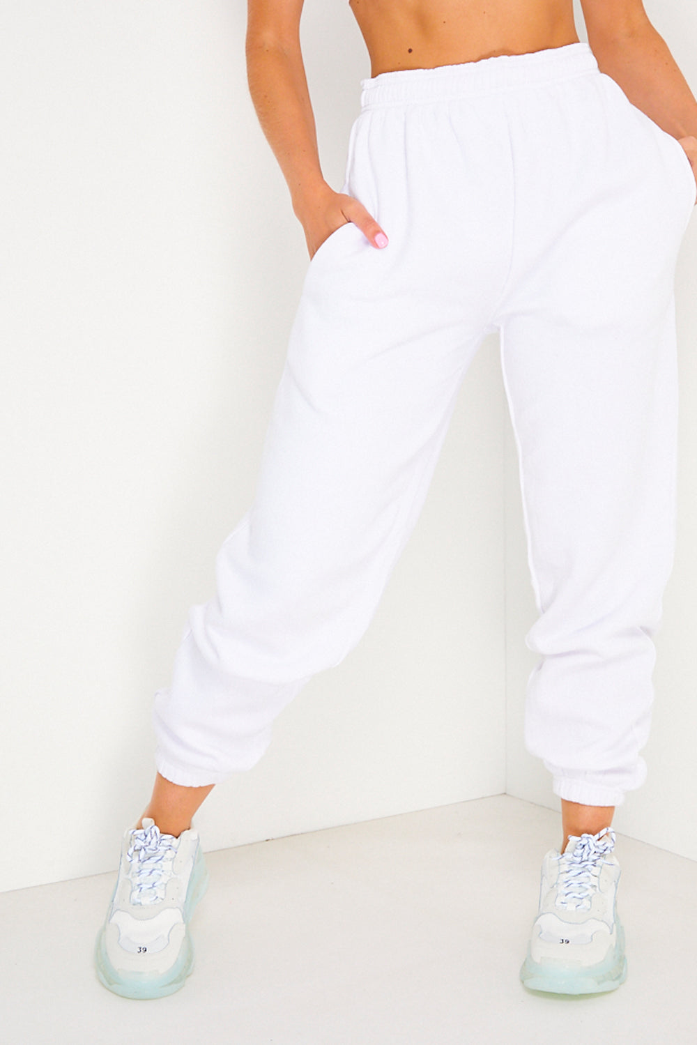 White Oversized Casual Joggers