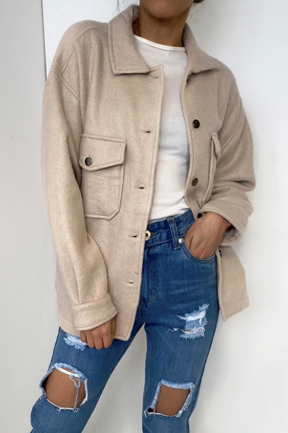Beige Oversized Shacket