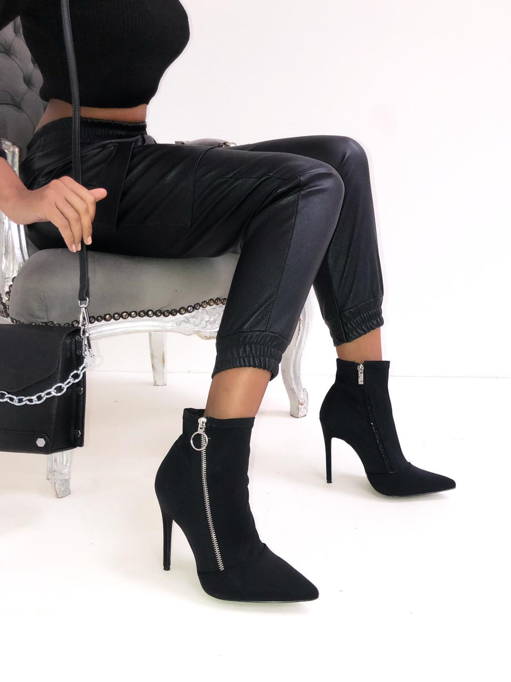 Black Lycra Pointed Boots