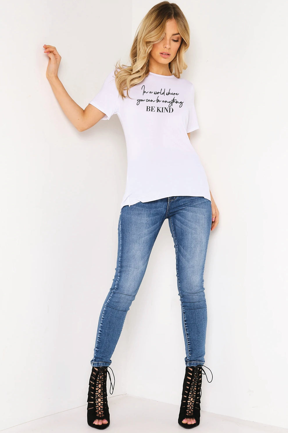 Unisex World Be Kind Slogan White T-Shirt