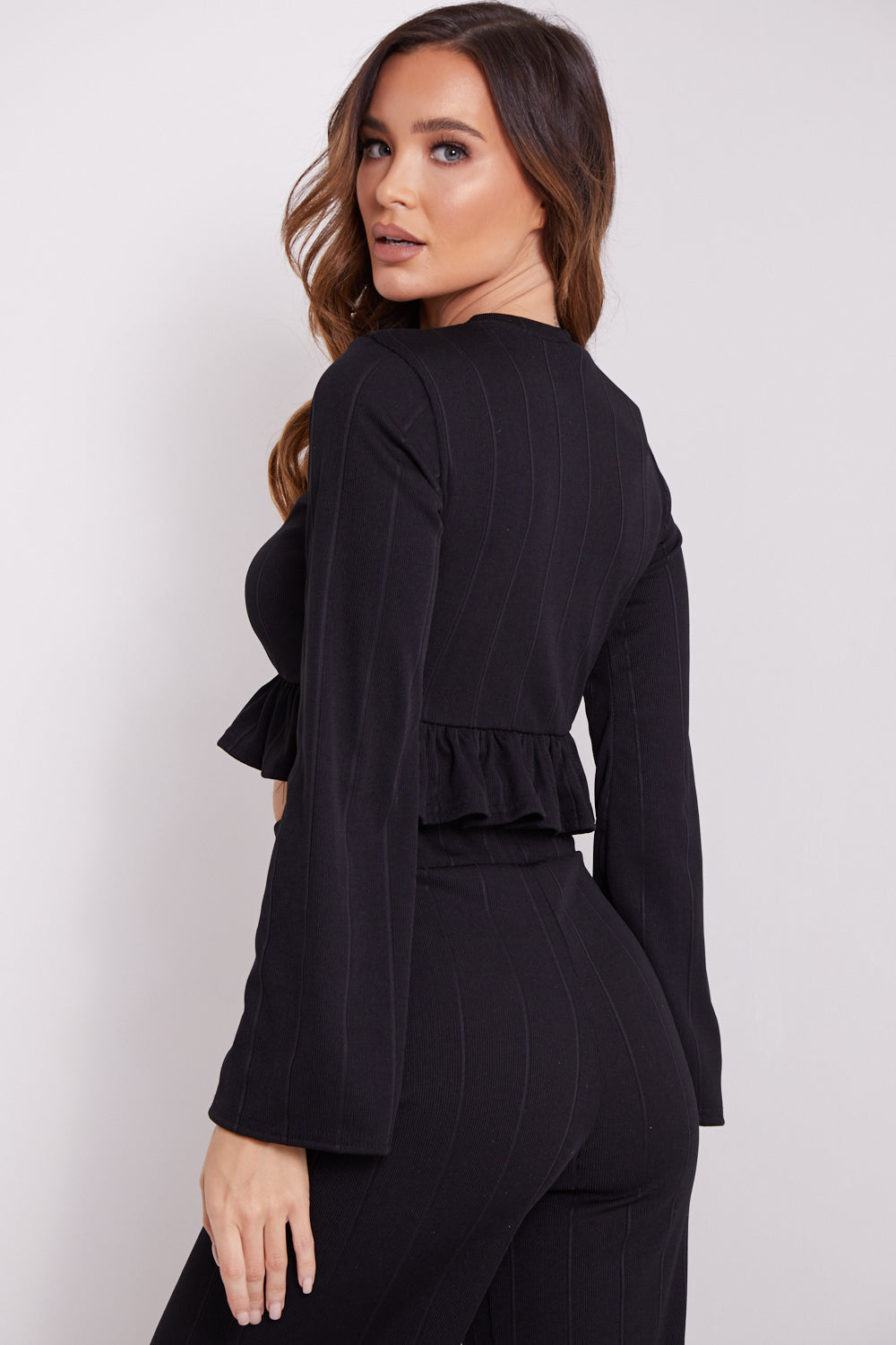 Black Frill Crop Top and Wide Leg Trousers Co-Ord