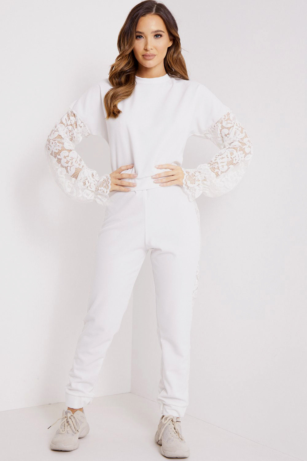 White Lace Insert Top and Joggers Tracksuit Set