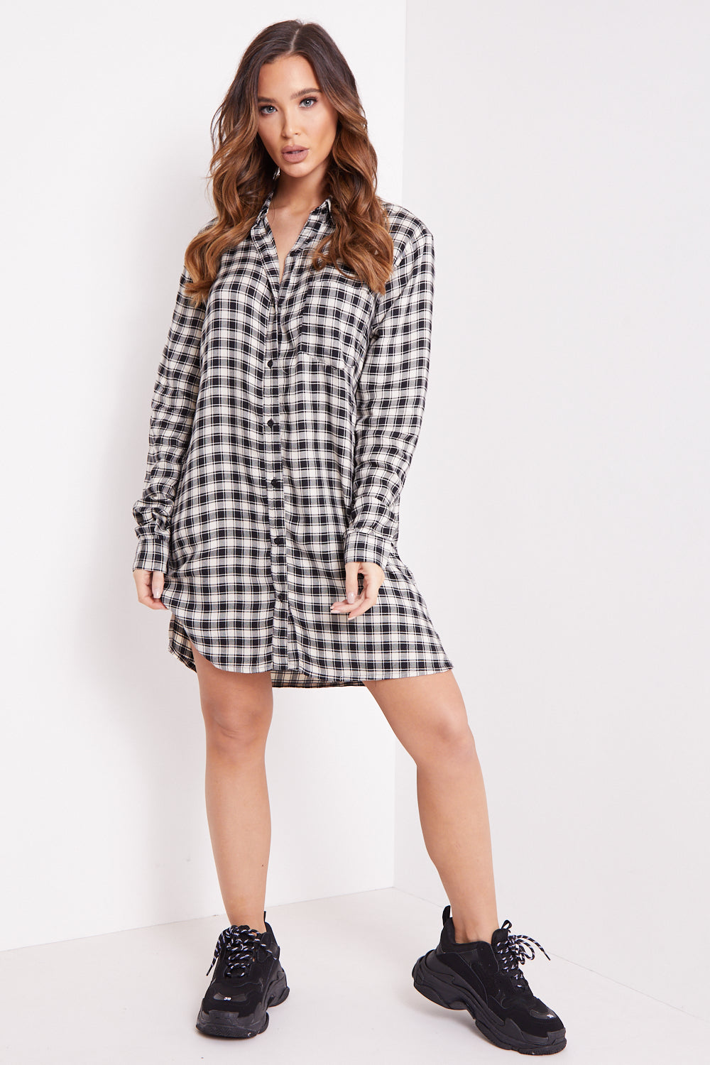 Black And White Check Button Shirt Dress