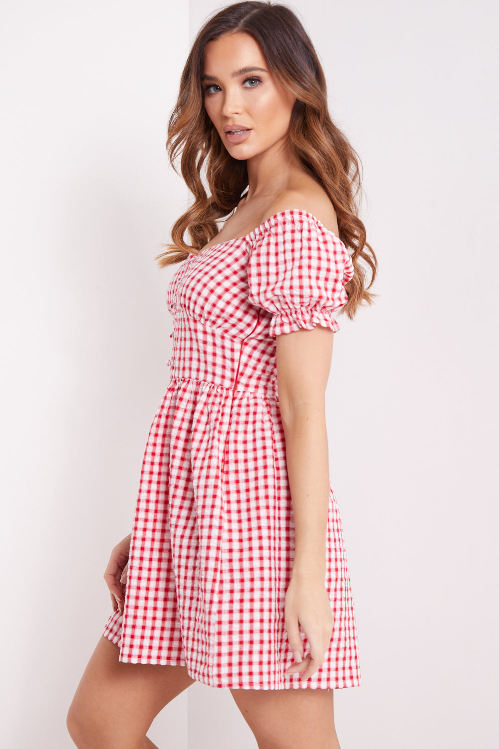 Red Check Button Up Skater Dress