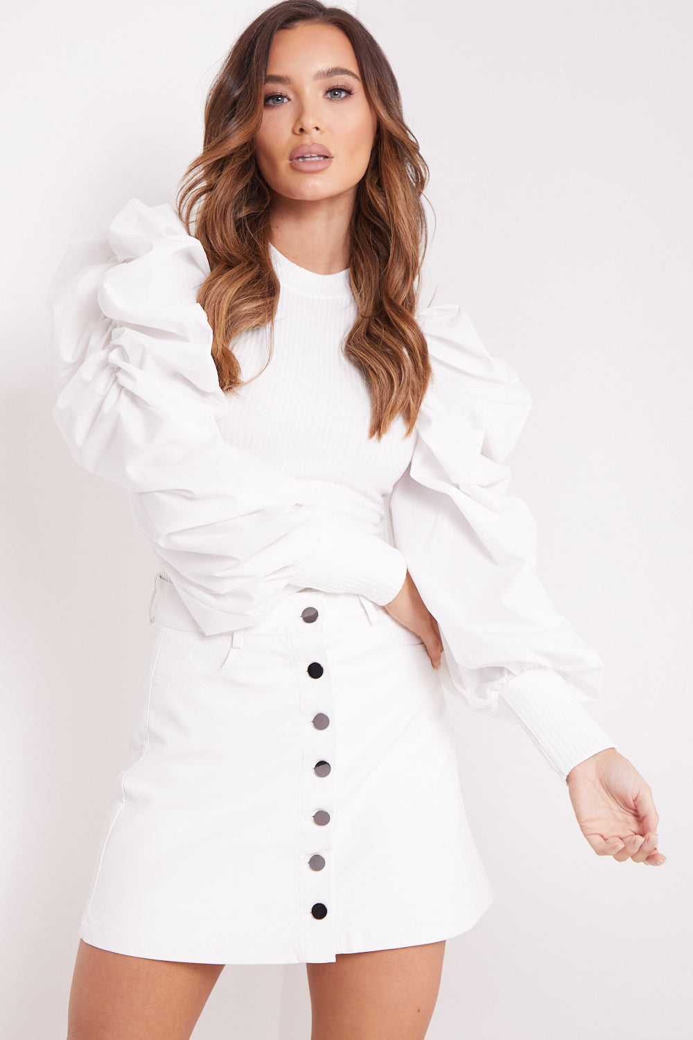 White Faux Leather Button Up A Line Skirt