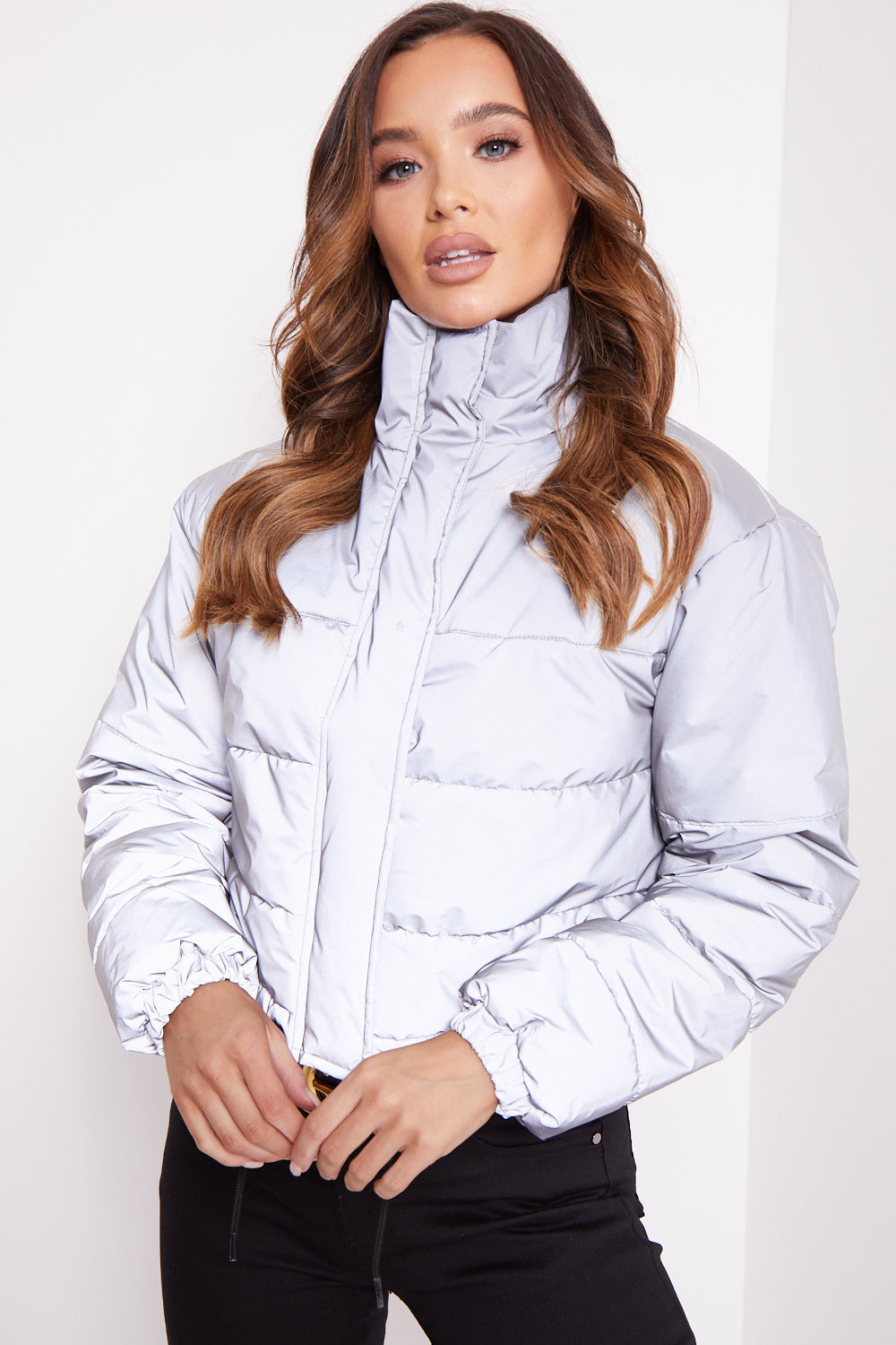 Grey Reflective Cropped Puffer Jacket