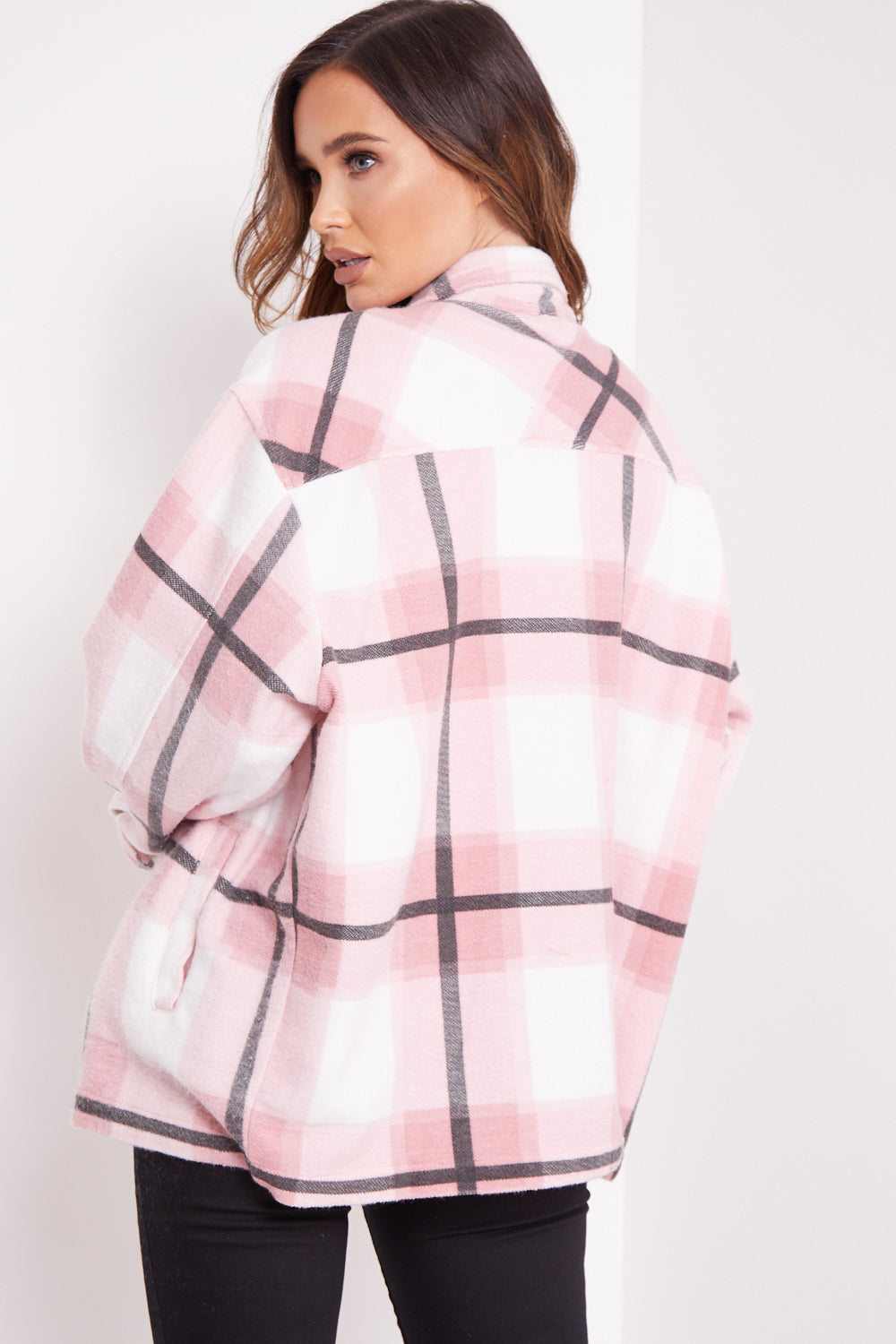 Pink Check Oversized Shacket