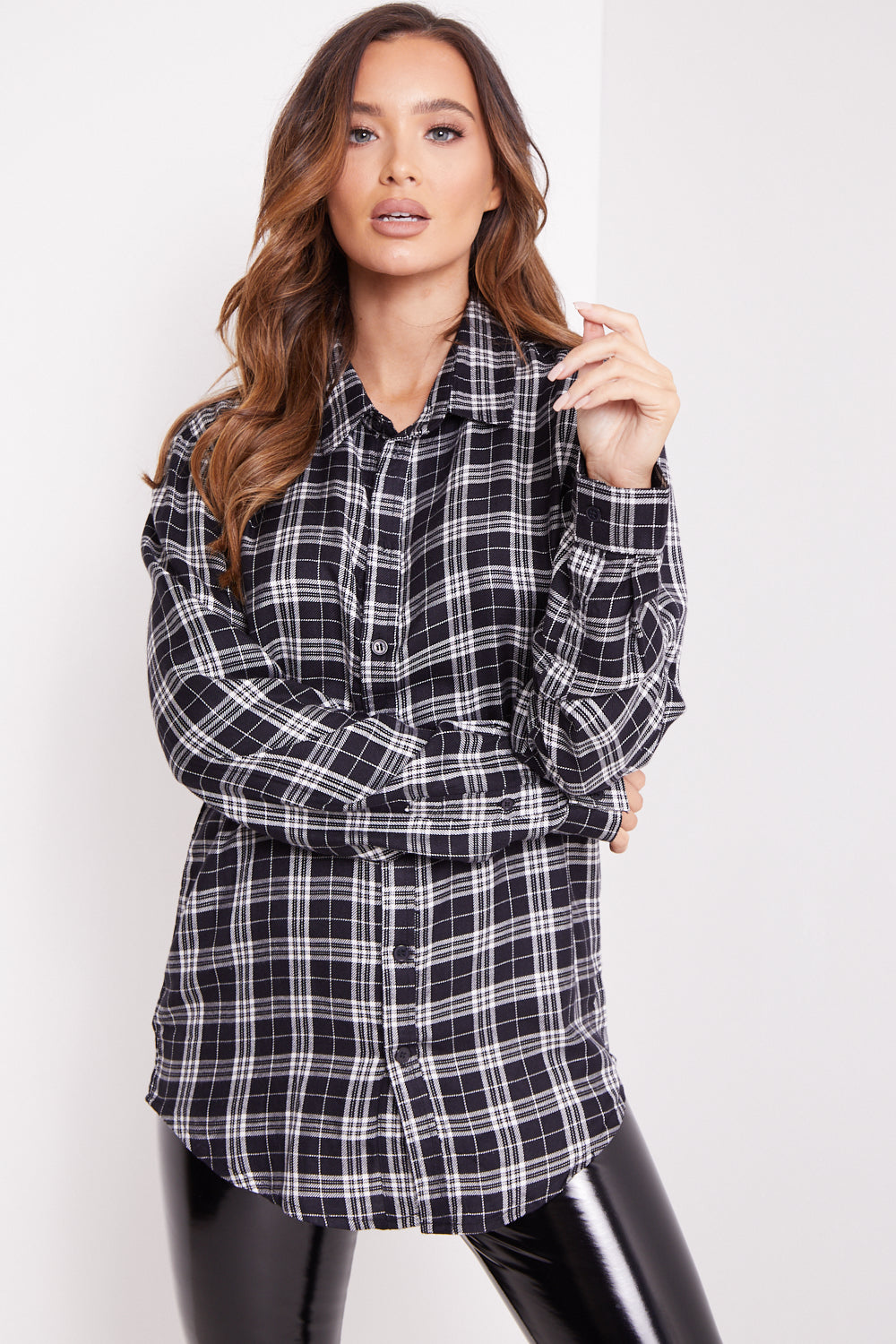 Black and White Check Button Shirt