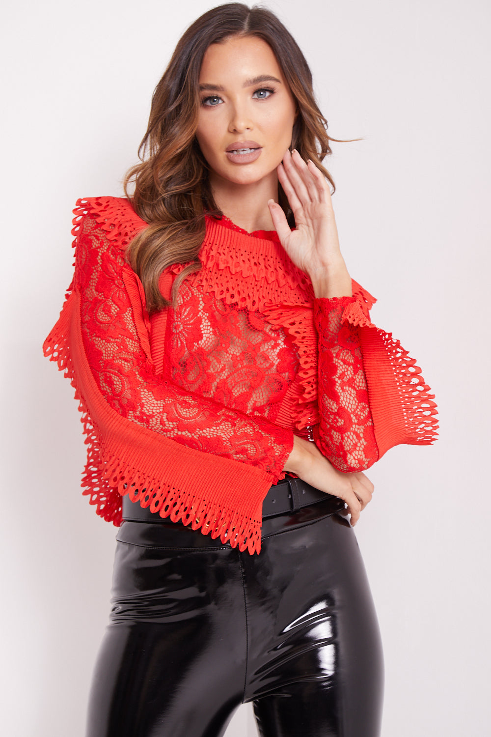 Red Ruffle Lace Bodysuit