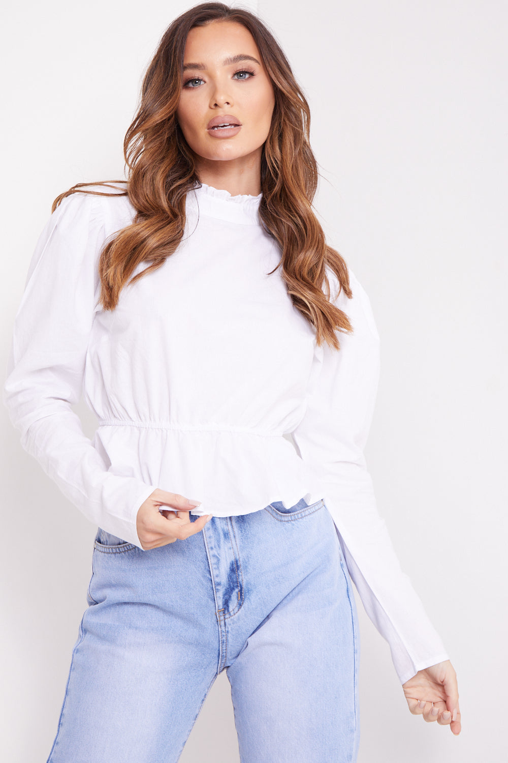 White Cotton High Neck Frill Top