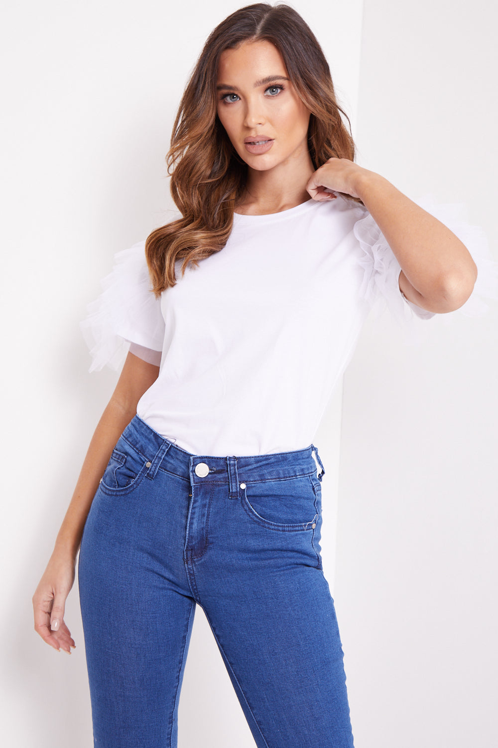 White T-Shirt With Mesh Frill Sleeve