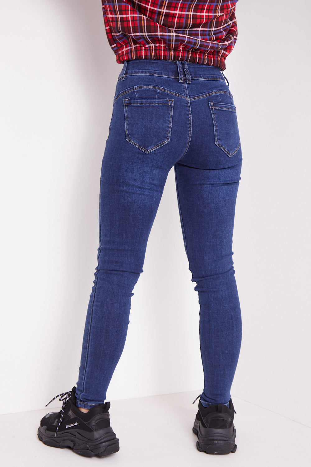 Dark Blue Push Up High Waisted Skinny Jeans