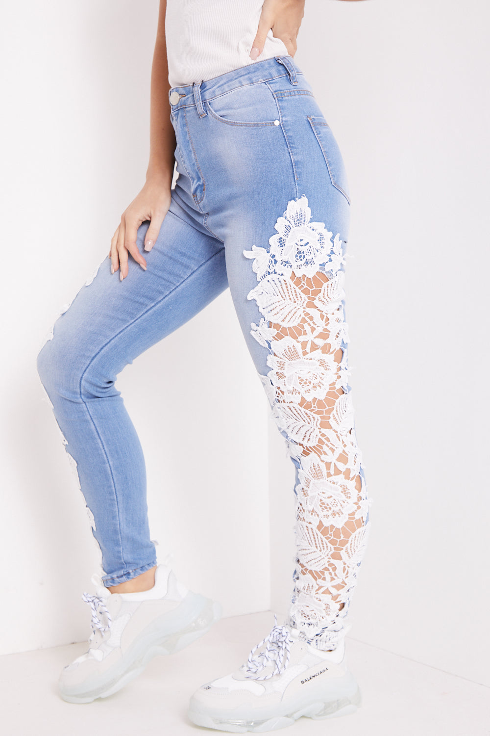 Blue Lace Detail High Waisted Skinny Jeans