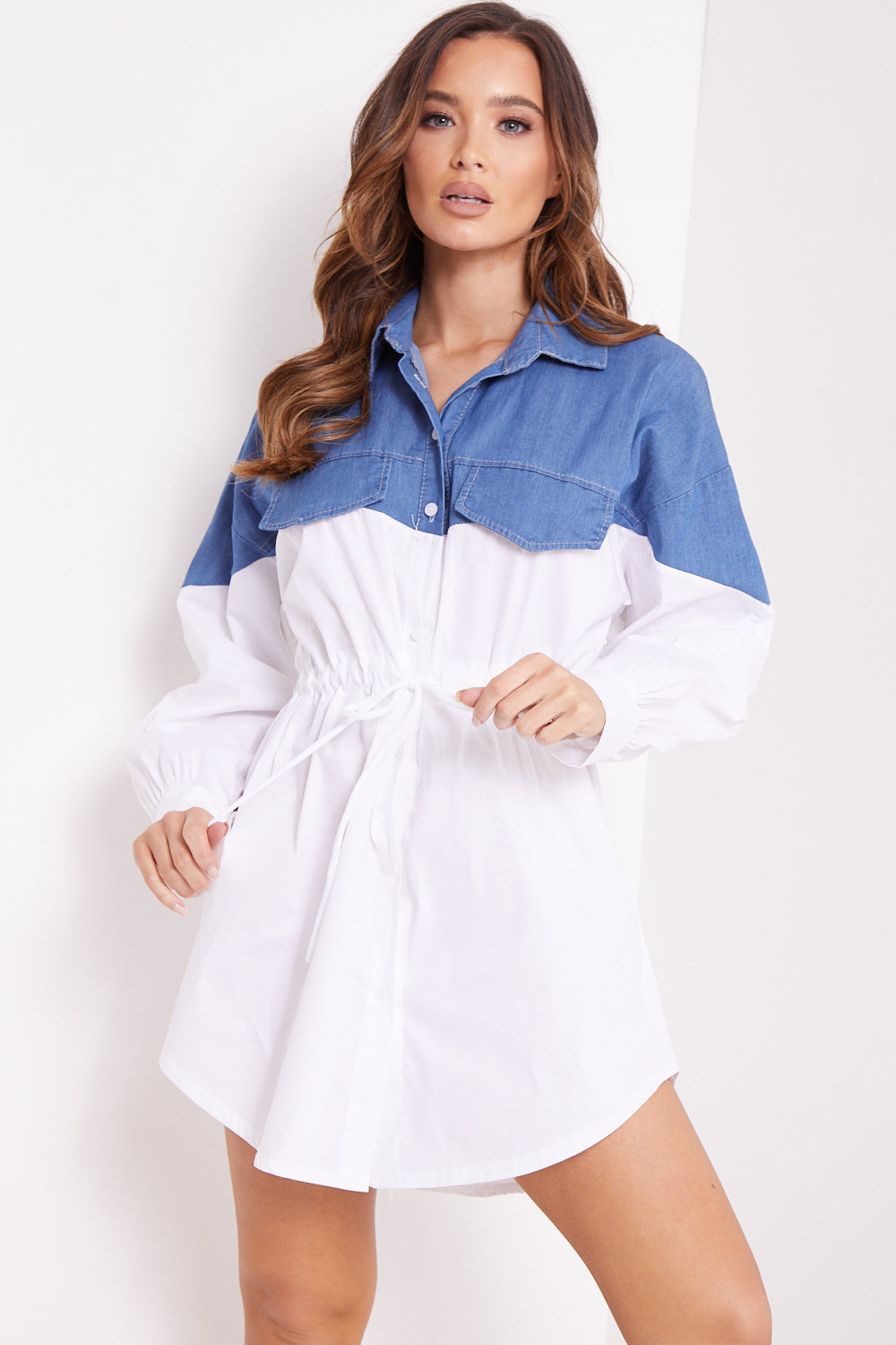 Blue and White Contrast Shirt Dress