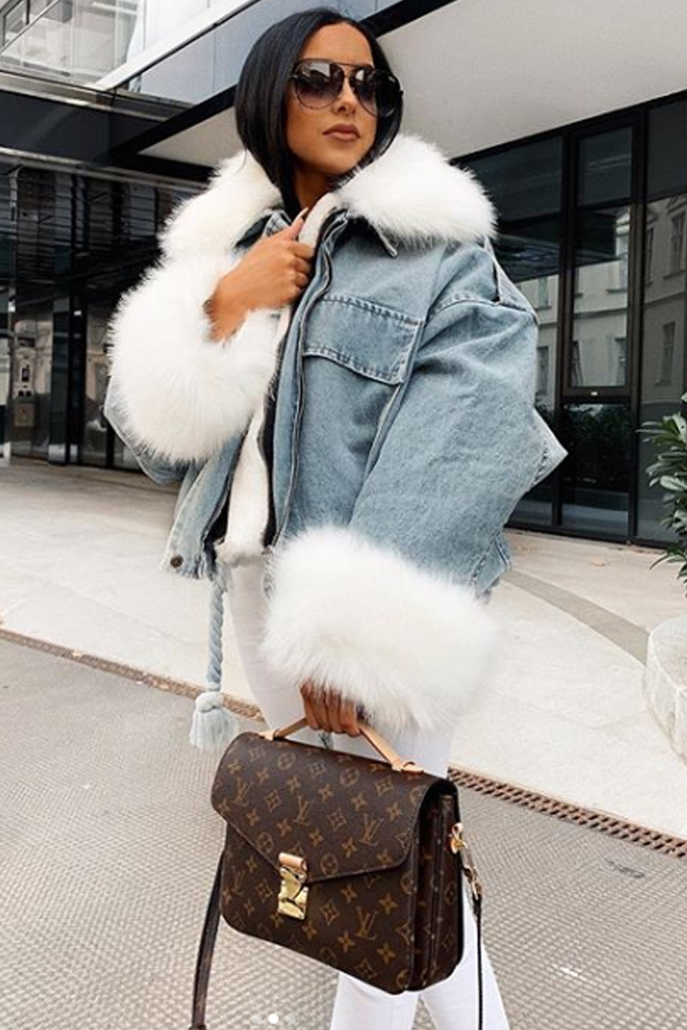 Blue Denim Faux Fur Jacket