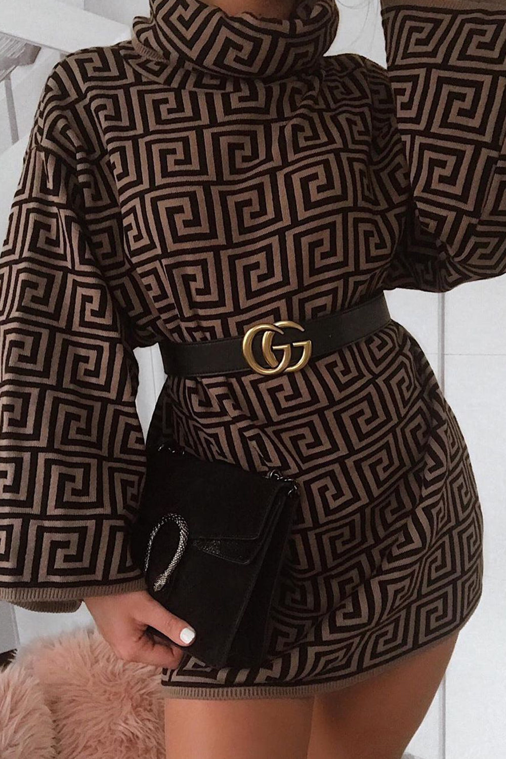 Brown Printed Funnel Neck Jumper Dress