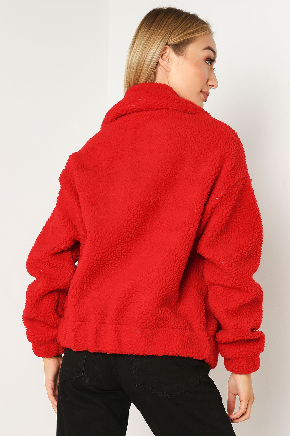 Red Teddy Bomber Jacket