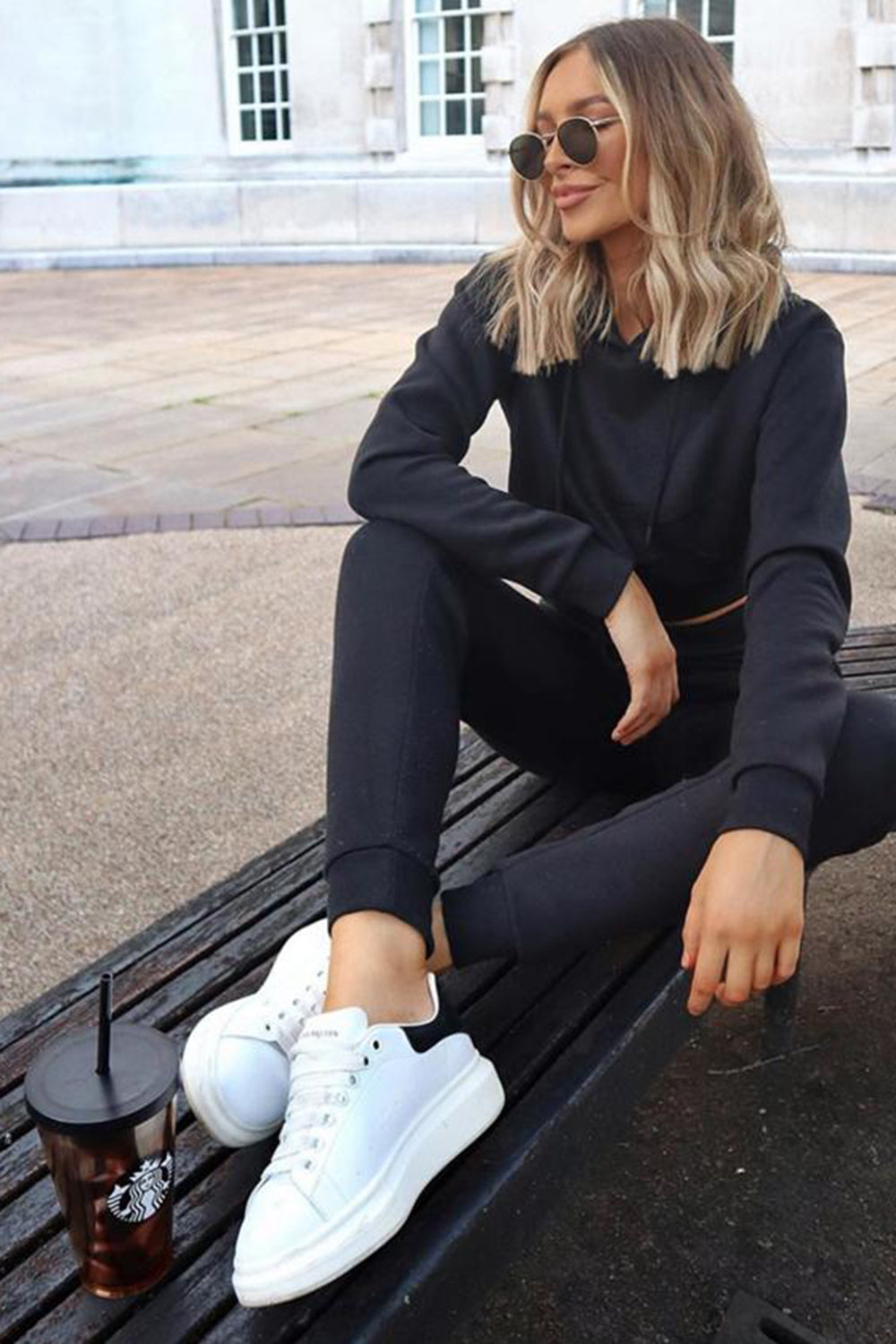 Black Cropped Hoodie and Joggers Tracksuit Set