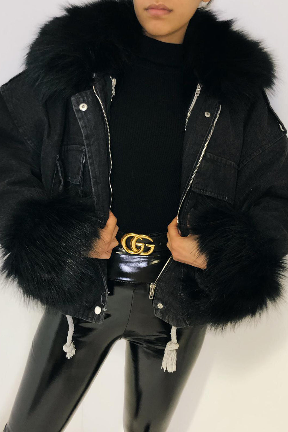 Black Denim With Black Faux Fur Jacket