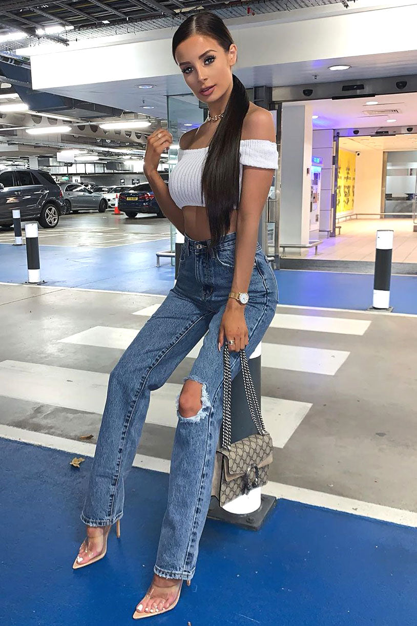 Blue Ripped Knee Bootleg Jeans