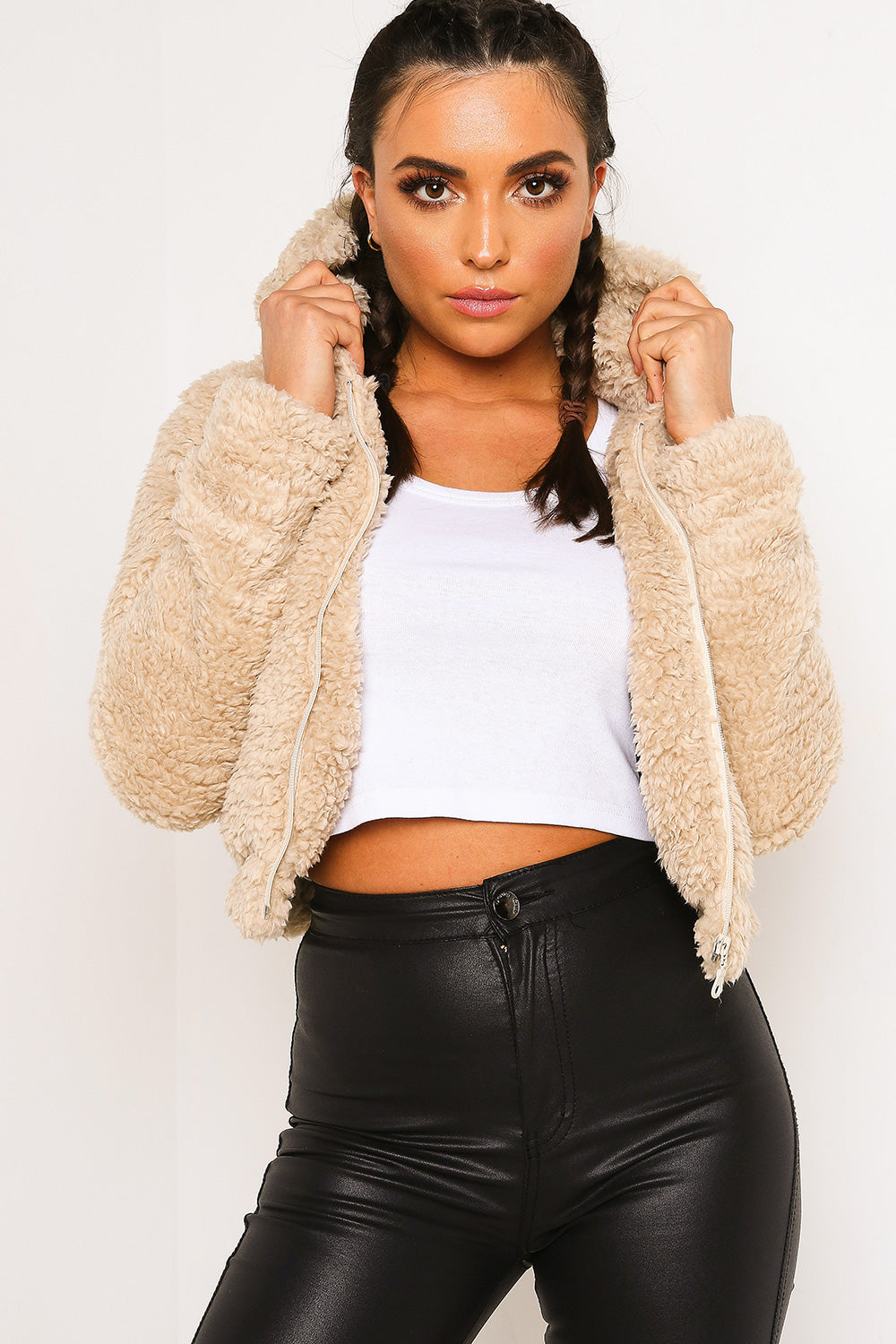 Stone Teddy Faux Fur Jacket