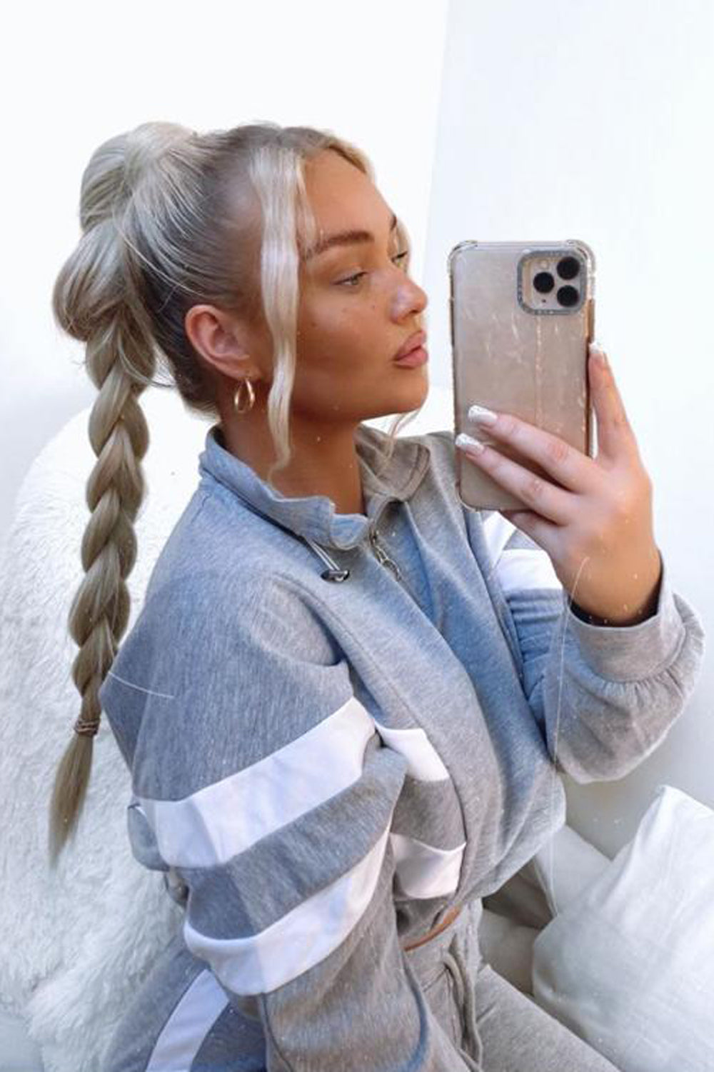 Grey & White Stripe Cropped Top and Joggers Tracksuit Set