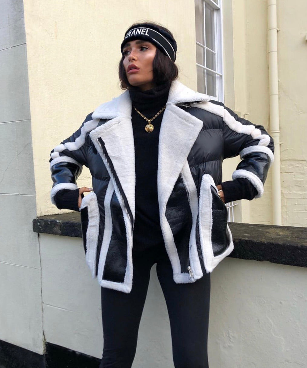 Black And White Puffer Aviator Coat With Fur Trims