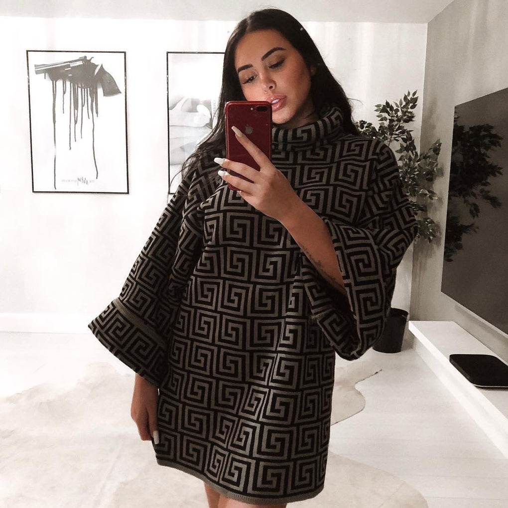 Brown Printed Funnel Neck Jumper Dress by Lasula