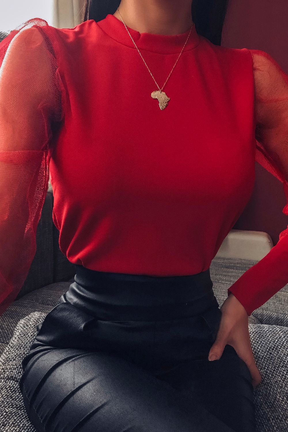 Red Fishnet Puff Sleeve Top