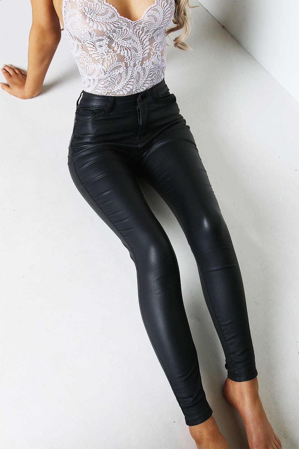 Black PU Faux Leather Skinny Jeans
