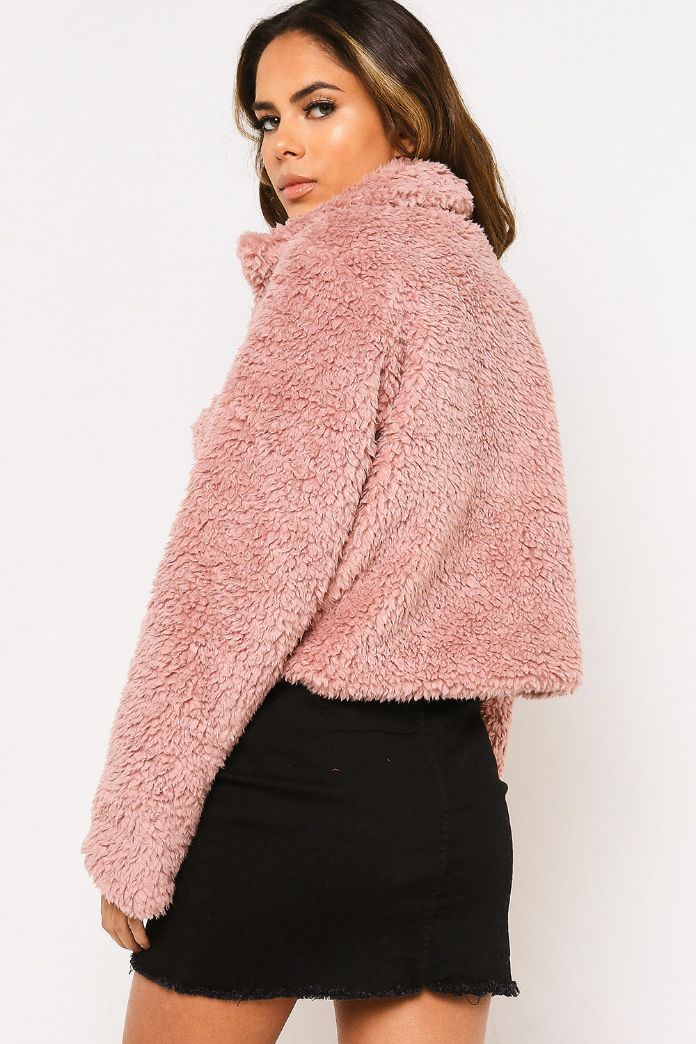 Pink Teddy Faux Fur Trucker Jacket