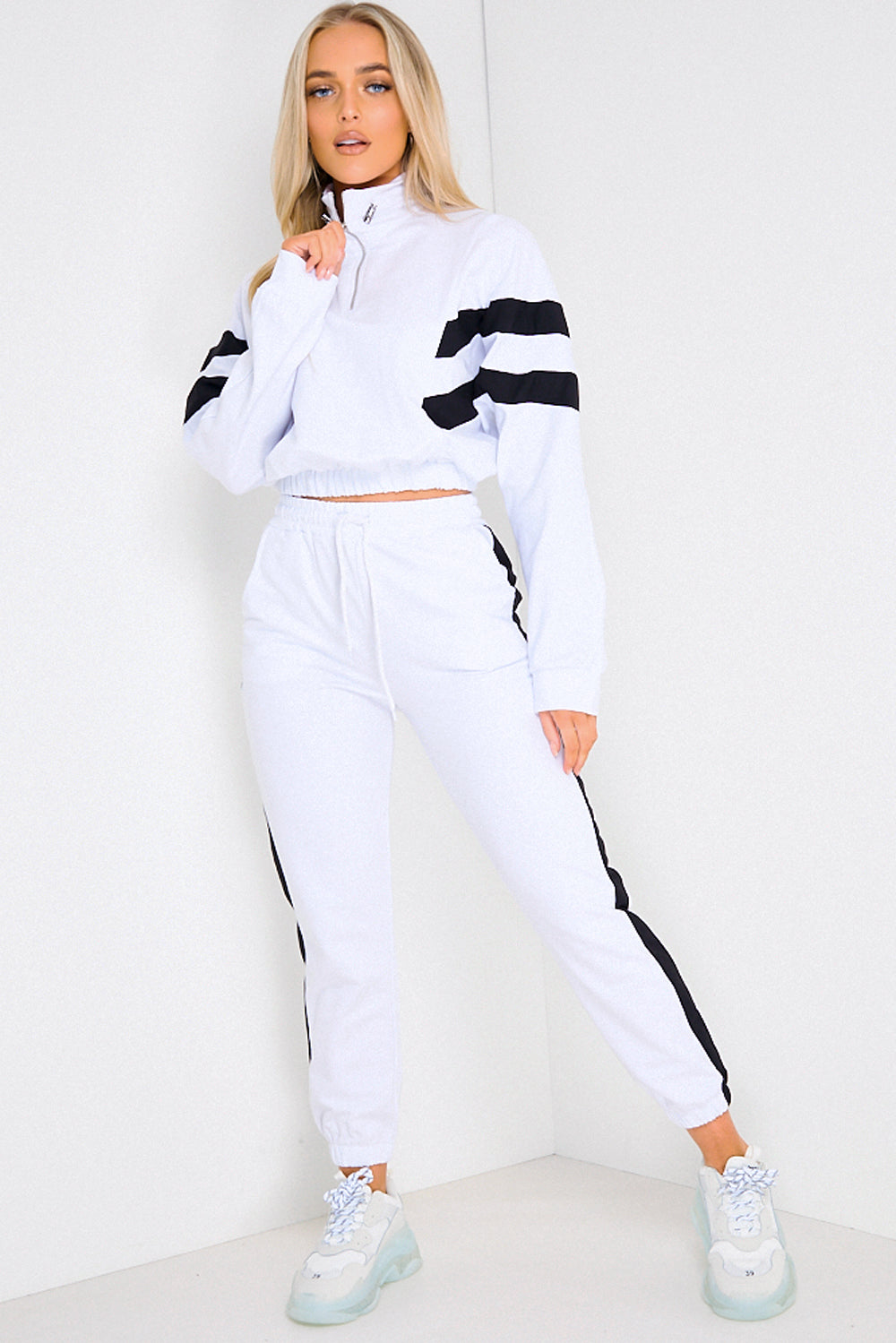 White & Black Stripe Cropped Hoodie and Joggers Tracksuit Set