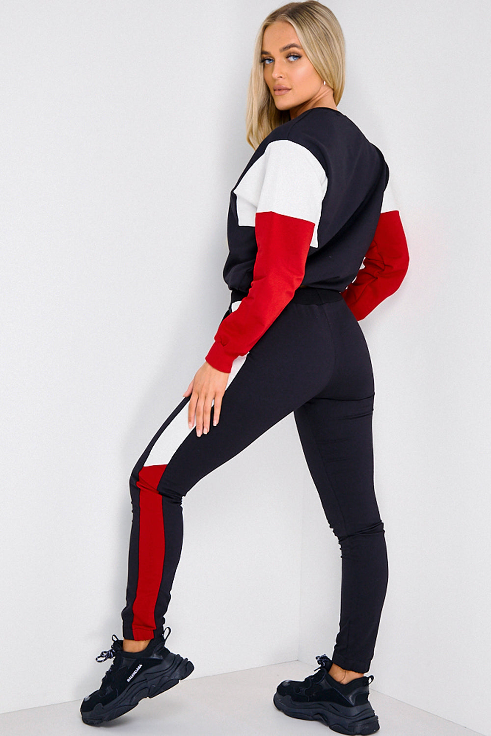 Black, Cream & Red Colour Block Tracksuit Set