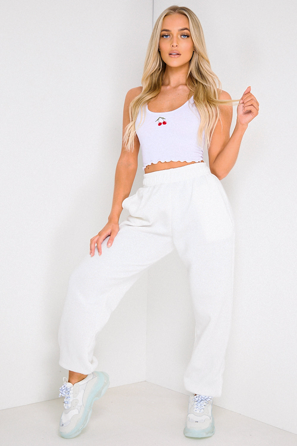 White Embroidered Cherry Ribbed Crop Top