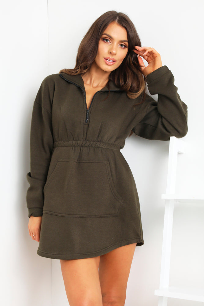 Khaki Zip Up Front Detail Dress