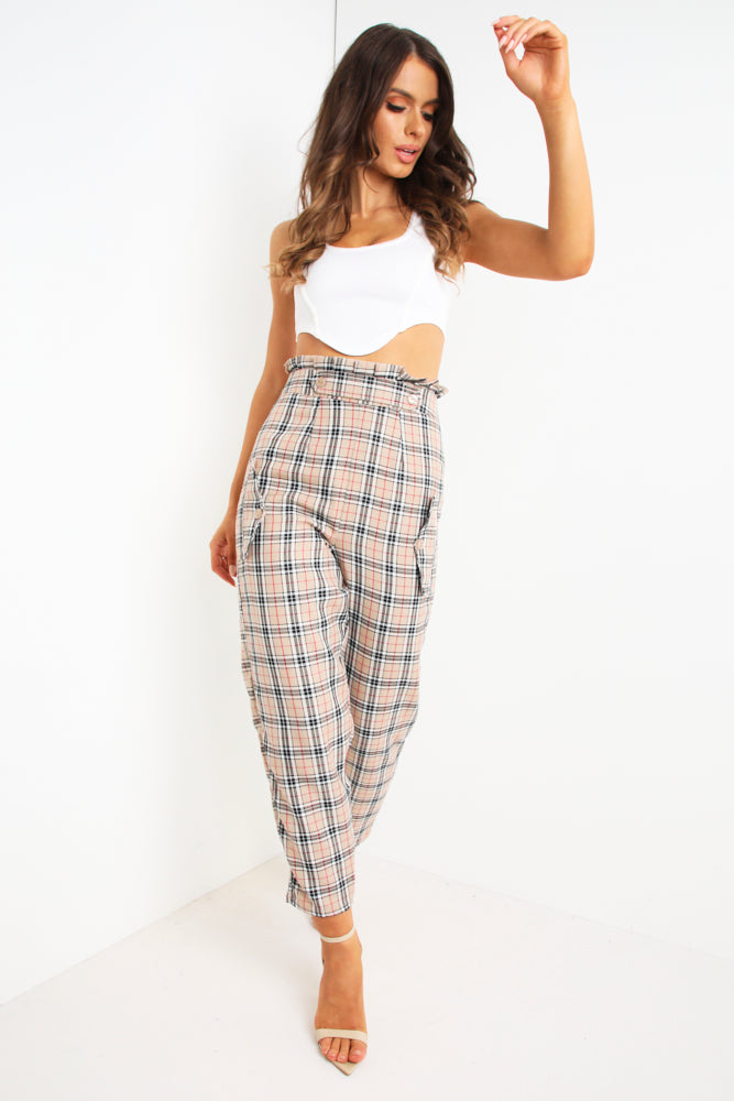 Brown Tartan Print Tailored Trousers