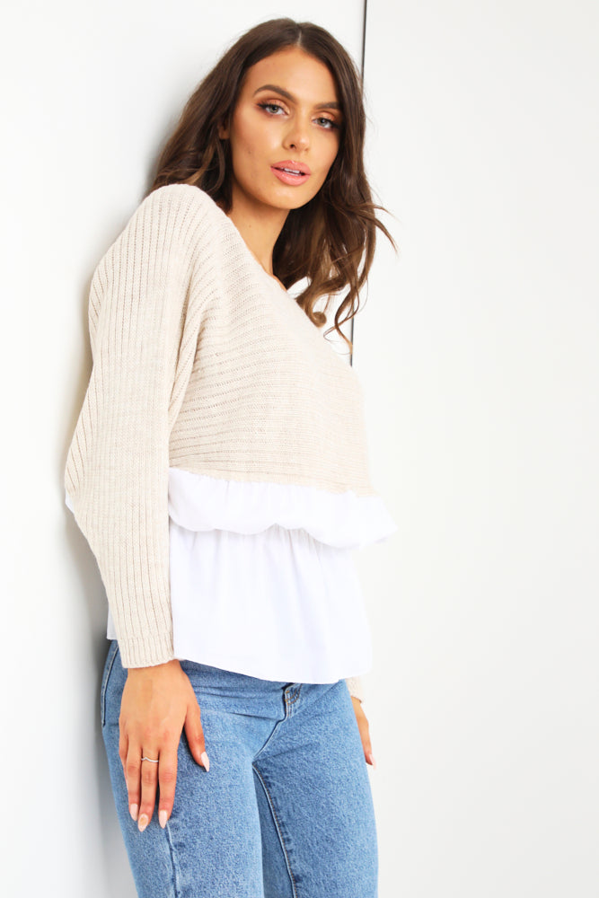 Stone Ruched Shirt Jumper