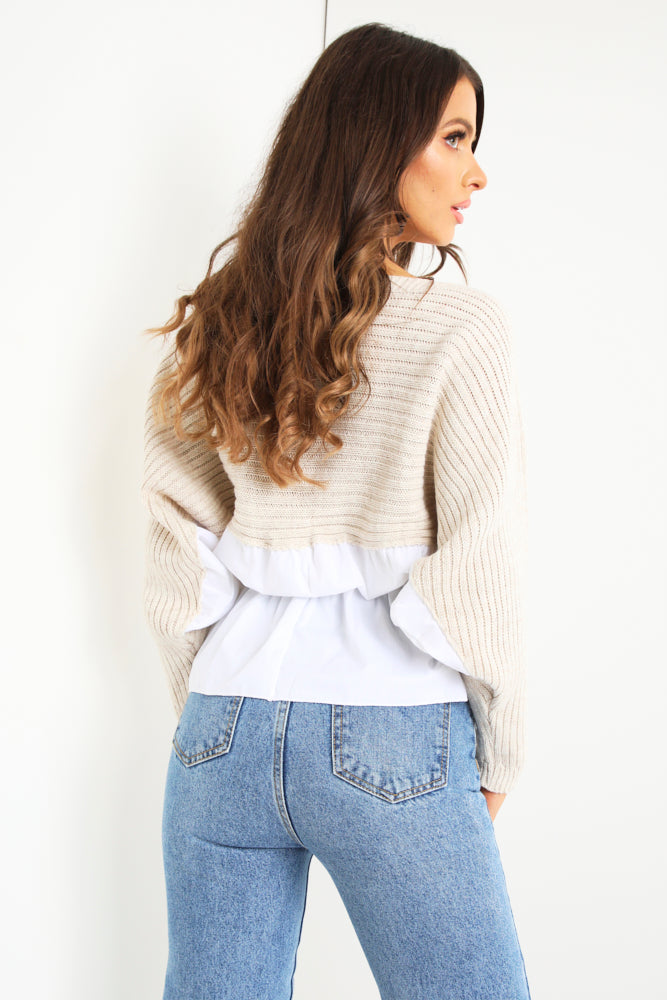 Stone Ruched Shirt Knit
